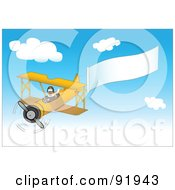 Royalty Free RF Clipart Illustration Of A Pilot In A Yellow Plane Trailing A Blank Banner In A Blue Sky