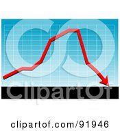 Royalty Free RF Clipart Illustration Of A Blue Graph With A Red Loss Arrow Above Black And White Bars
