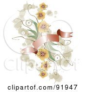 Royalty Free RF Clipart Illustration Of A Floral Design Element With Beige Grunge And A Red Banner by tdoes