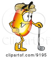 Clipart Picture Of A Flame Mascot Cartoon Character Leaning On A Golf Club While Golfing