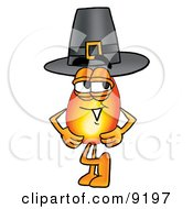 Clipart Picture Of A Flame Mascot Cartoon Character Wearing A Pilgrim Hat On Thanksgiving by Toons4Biz
