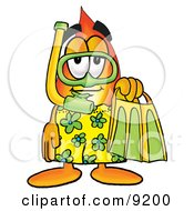Flame Mascot Cartoon Character In Green And Yellow Snorkel Gear