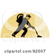 Logo Of A Carpet Cleaner Man Over A Lined Half Circle