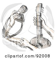 Royalty Free RF Clipart Illustration Of Hands Trading A Camera For A Guitar