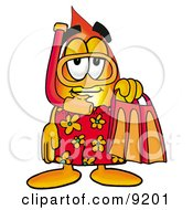 Flame Mascot Cartoon Character In Orange And Red Snorkel Gear