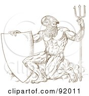 Royalty Free RF Clipart Illustration Of A Brown Sketch Of Neptune With A Shield And Trident On White