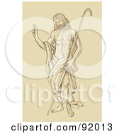 Royalty Free RF Clipart Illustration Of A Sketched Christ Standing With A Staff by patrimonio