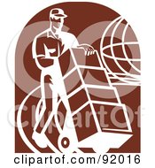 Royalty Free RF Clipart Illustration Of A Retro Delivery Man With Boxes Over A Brown Oval