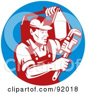 Royalty Free RF Clipart Illustration Of A Red Plumber Carrying Tools