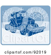 Royalty Free RF Clipart Illustration Of A Man Operating A Snow Plow Machine by patrimonio
