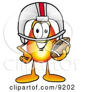 Clipart Picture Of A Flame Mascot Cartoon Character In A Helmet Holding A Football by Toons4Biz