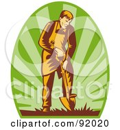 Royalty Free RF Clipart Illustration Of A Retro Styled Logo Of A Male Gardener Using A Shovel On A Green Oval