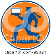 Blue And Orange Logo Design Of A Businsesman Running With A Laptop