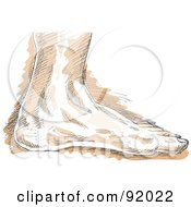Royalty Free RF Clipart Illustration Of A Sketched Left Human Foot