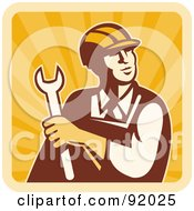 Royalty Free RF Clipart Illustration Of A Male Construction Worker Holding A Wrench And Looking Up On A Sunny Square