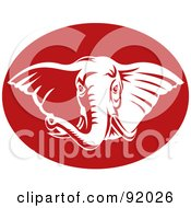 Royalty Free RF Clipart Illustration Of A White Elephant Face In A Red Oval