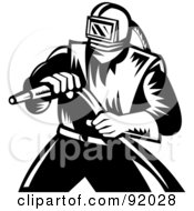 Royalty Free RF Clipart Illustration Of A Retro Black And White Sand Blaster Man Holding A Hose