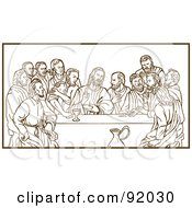 Royalty Free RF Clipart Illustration Of A Brown Sketch Of The Last Supper Over White by patrimonio