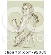 Royalty Free RF Clipart Illustration Of An Aristocrat Man Holding A Document by patrimonio