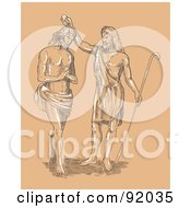 Royalty Free RF Clipart Illustration Of A Sketch Of St John Baptizing Jesus by patrimonio