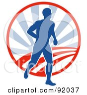Royalty Free RF Clipart Illustration Of A Blue And Red Logo Of A Male Runner Over A Circle