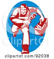 Royalty Free RF Clipart Illustration Of A Red Plumber Running Forward