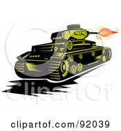 Royalty Free RF Clipart Illustration Of A Green Military Tank Firing The Canon by patrimonio