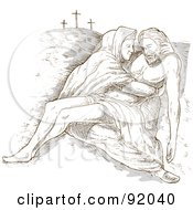 Royalty Free RF Clipart Illustration Of A Sketched Scene Of Mary Holding The Dead Christ by patrimonio