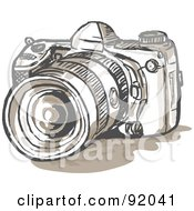 Royalty Free RF Clipart Illustration Of A Dslr Digital Camera Sketch by patrimonio