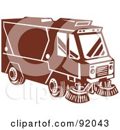 Royalty Free RF Clipart Illustration Of A Retro Styled Brown Street Sweeper Machine