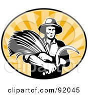 Royalty Free RF Clipart Illustration Of A Logo Of A Retro Black And White Farmer With Wheat And A Scythe In A Sunny Oval