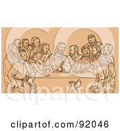 Royalty Free RF Clipart Illustration Of A Sketch Of The Last Supper On Tan by patrimonio
