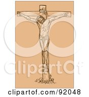 Royalty Free RF Clipart Illustration Of A Sketch Of Jesus On The Cross Over Tan by patrimonio