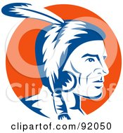 Royalty Free RF Clipart Illustration Of A Profile View Of A Native American Indian With A Feather by patrimonio