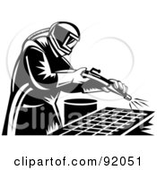 Royalty Free RF Clipart Illustration Of A Retro Black And White Sand Blaster Man At Work