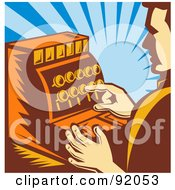 Royalty Free RF Clipart Illustration Of A Retro Male Cashier Pushing Buttons On A Register by patrimonio