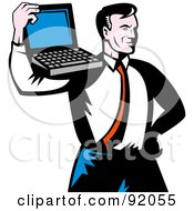 Royalty Free RF Clipart Illustration Of A Proud Retro Businessman Holding A Laptop On His Shoulder by patrimonio