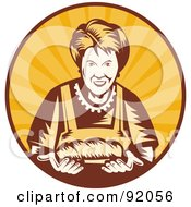 Retro Styled Logo Of A Female Baker In A Sunny Circle
