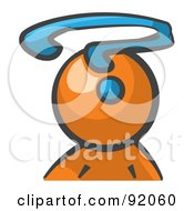 Royalty Free RF Clipart Illustration Of An Orange Man Avatar With A Question Mark by Leo Blanchette