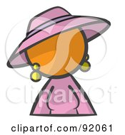 Royalty Free RF Clipart Illustration Of An Orange Woman Avatar In A Purple Dress And Hat