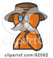 Royalty Free RF Clipart Illustration Of An Orange Man Avatar Professor With A Mustache by Leo Blanchette