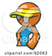 Royalty Free RF Clipart Illustration Of An Orange Woman Avatar Wearing A Visor And Shades by Leo Blanchette