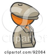 Royalty Free RF Clipart Illustration Of An Orange Man Avatar Detective by Leo Blanchette
