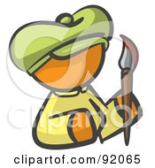 Royalty Free RF Clipart Illustration Of An Orange Woman Avatar Artist Holding A Paintbrush