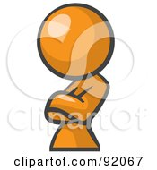 Royalty Free RF Clipart Illustration Of An Orange Woman Avatar Leaning And Crossing Her Arms