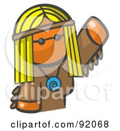 Royalty Free RF Clipart Illustration Of An Orange Woman Avatar Hippie Waving