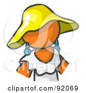 Royalty Free RF Clipart Illustration Of An Orange Woman Avatar In A White Dress And Yellow Hat
