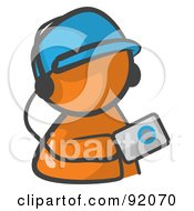 Royalty Free RF Clipart Illustration Of An Orange Man Avatar Holding An Mp3 Player by Leo Blanchette