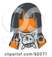 Royalty Free RF Clipart Illustration Of An Orange Woman Avatar Grumpy Girl