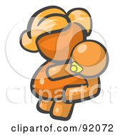 Royalty Free RF Clipart Illustration Of An Orange Woman Avatar Mother Holding Her Baby